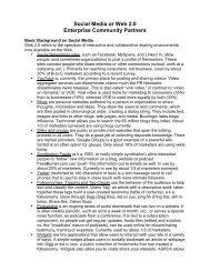 Social Media or Web 2.0 Enterprise Community Partners