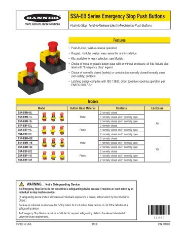 SSA-EB Series Emergency Stop Push Buttons Overview - Elion