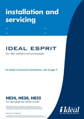 Ideal Esprit HE Combi Boilers 24,30,35 Manual - BHL.co.uk
