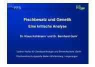 Fischbesatz und Genetik, eine kritische Analyse, Vortrag zum