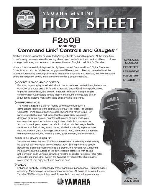 yamaha f350 command link wiring diagram f250 hot sheet indd yamaha  f250 hot sheet indd yamaha