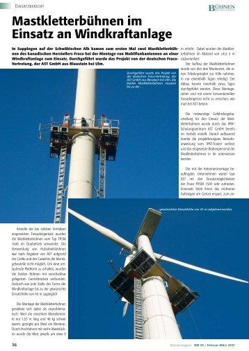 Mastkletterbühnen im Einsatz an Windkraftanlage
