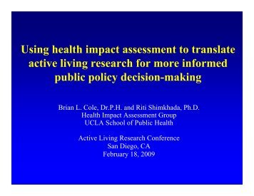 Using health impact assessment to translate active living research ...