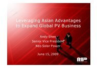 Leveraging Asian Advantages to Expand Global PV Business