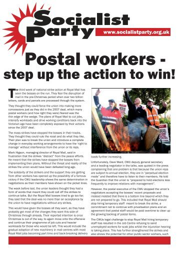 Postal workers - step up the action to win! Socialist Party leaflet pdf