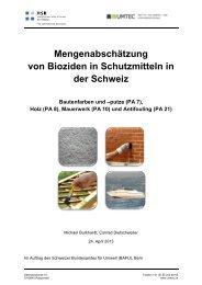 Mengenabschätzung von Bioziden in ... - Bafu - admin.ch