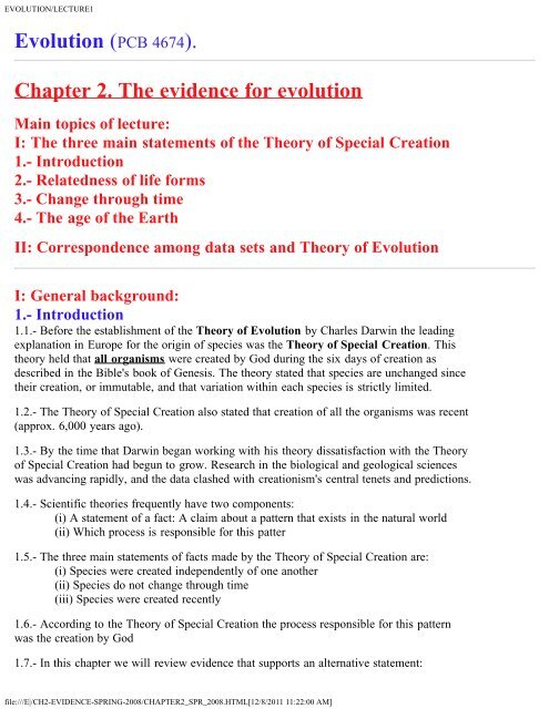 Chapter 2 The Evidence For Evolution