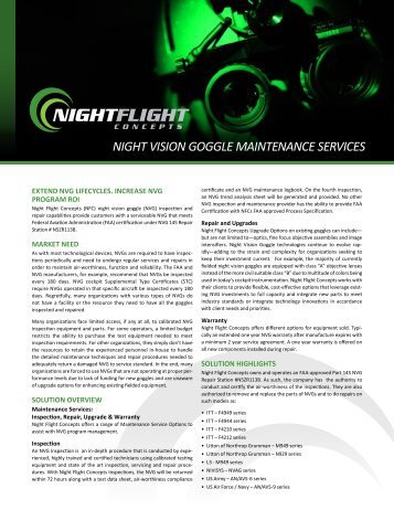 NVG Maintenance Services Brochure - Night Flight Concepts