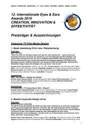 12. Internationale Eyes & Ears Awards 2010 CREATION ... - EEOFE