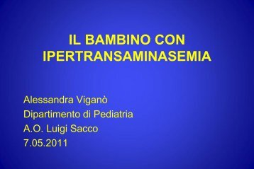 Il bambino con ipertransaminasemia - Ospedale Luigi Sacco