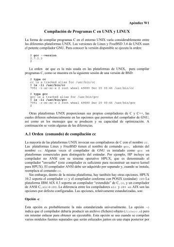 Apéndice W1.C Compilacion UNIX