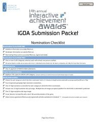 IGDA Submission Packet - the Academy Of Interactive Arts & Sciences