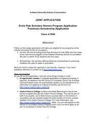 JOINT APPLICATION Ernie Pyle Scholars Honors Program ...