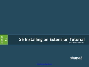 S5 Installing an Extension Tutorial