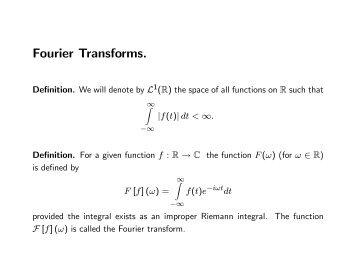 Fourier Transforms.