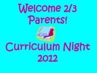 Curriculum Night Presentation - Lincoln Prairie School