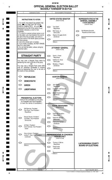 official general election ballot straight party - Lackawanna County