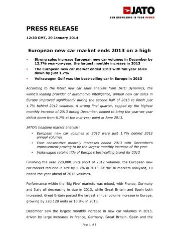 new car release monthEuropean new car market on track for full calendar year of growth
