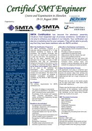 Certified SMT Engineer Course and Examination in ... - SMTA