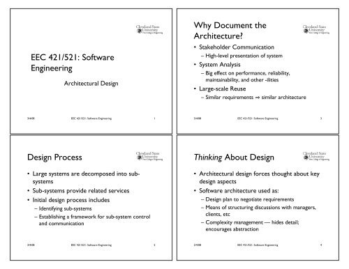Eec 421 521 Software Engineering Design Process Why