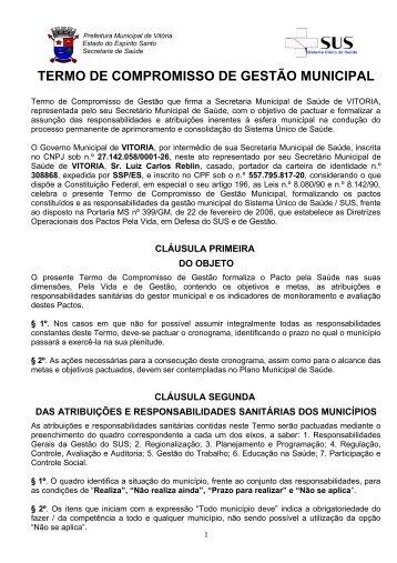 termo de compromisso de gestão municipal - Prefeitura de Vitória