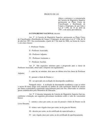 PROJETO DE LEI Altera a estrutura e a remuneração da ... - Unirio