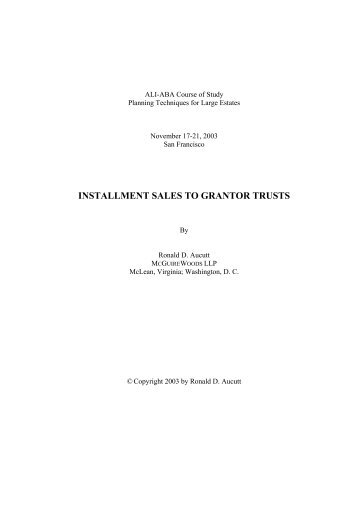 INSTALLMENT SALES TO GRANTOR TRUSTS
