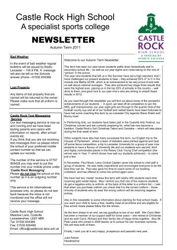 You can see our new Autumn e-Newsletter in printable pdf format by ...