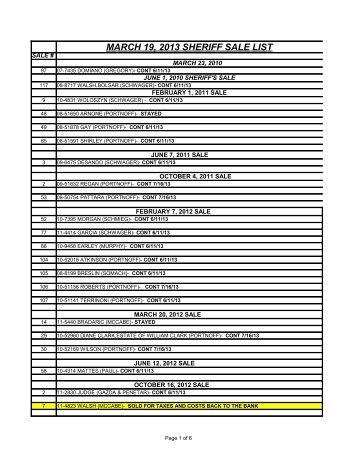 MARCH 19, 2013 SHERIFF SALE LIST - Lackawanna County