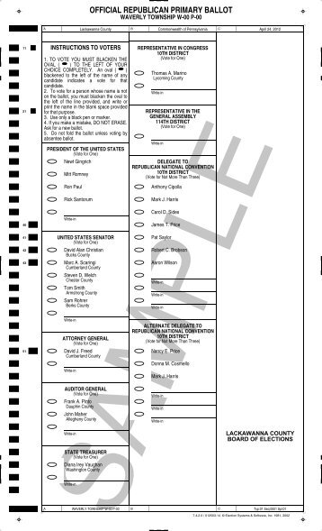 OFFICIAL REPUBLICAN PRIMARY BALLOT - Lackawanna County