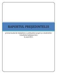 Raport de activitate - 2011 - Consiliul Judeţean Gorj