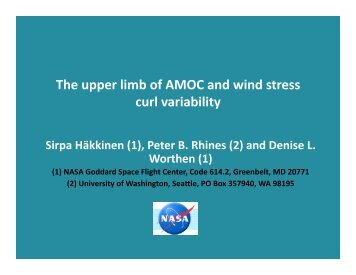 The upper limb of AMOC and wind stress curl variability - US CLIVAR