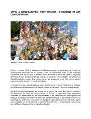 appel à candidatures : post-diplôme « document et art ... - Cipac