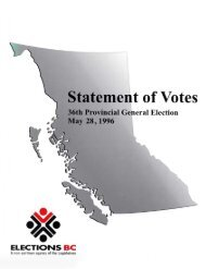1996 Statement of Votes – 36th Provincial General ... - Elections BC