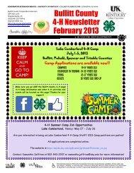 February 2013 4-H Newsletter - Bullitt County Cooperative Extension