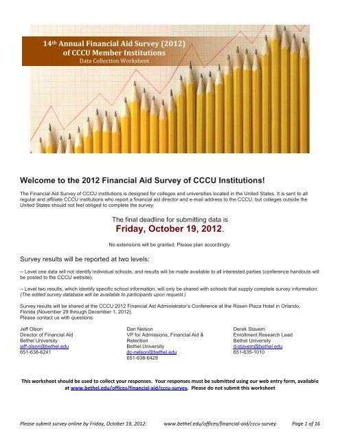 Bethel University Online >> Financial Aid Survey Of Cccu Institutions Bethel University