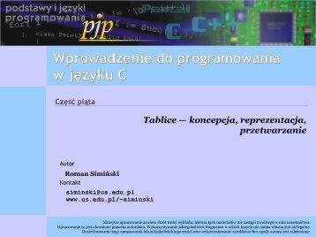 Wprowadzenie do programowania w języku C — tablice i ich ...