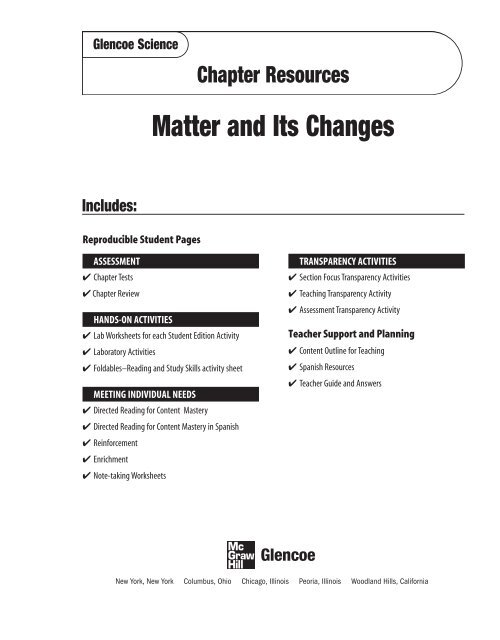 Chapter 3 Resource: Matter and its Changes