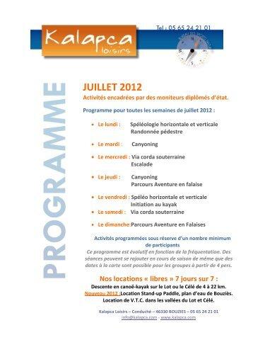 programme juillet 2012