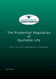 The Prudential Regulation of Equitable Life: Part 2: full text of ...