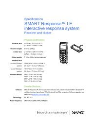 SMART Response LE 2012 Specifications - SMART Technologies
