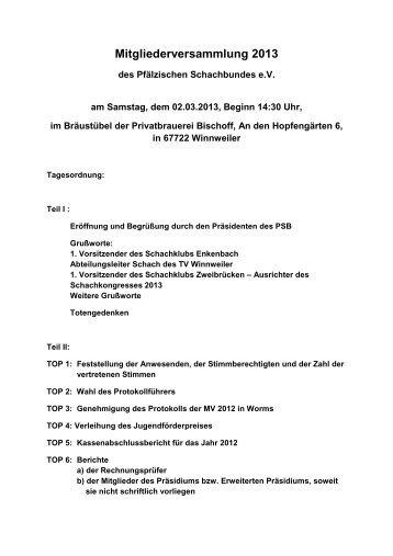 Mitgliederversammlung 2013 - Pfälzischer Schachbund