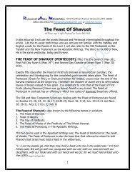 The Feast Of Shavuot- Pentecost - Rhm-Net.org