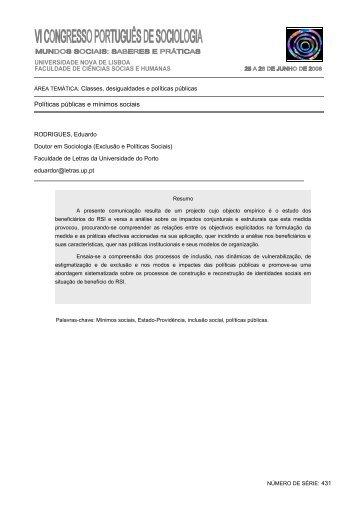 Políticas públicas e mínimos sociais - Associação Portuguesa de ...