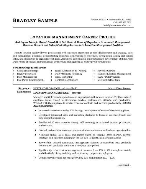 Location Manager Resume PDF Version