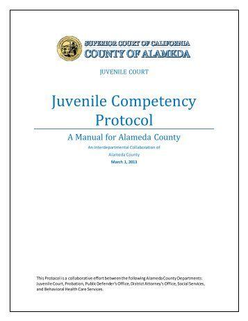 Juvenile Competency Protocol - Alameda County Behavioral Health