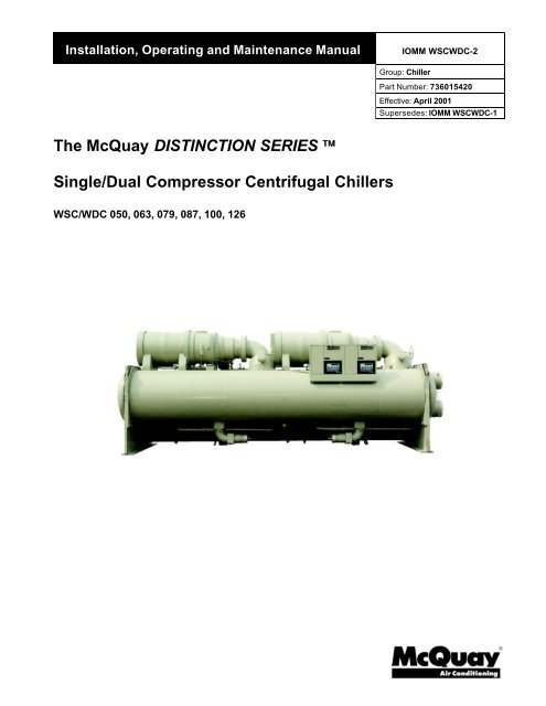 WSC WDC Installation Manual McQuay