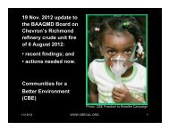 19 Nov. 2012 update to the BAAQMD Board on Chevron's ...