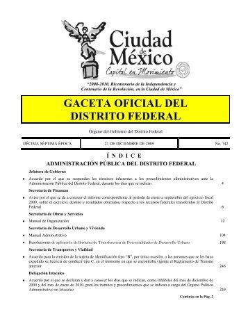 GACETA OFICIAL DEL DISTRITO FEDERAL - Secretaria de Obras y ...