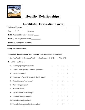 Facilitator evaluation form template 28 images 8 course facilitator evaluation form template iep facilitator evaluation form page screenshot of pronofoot35fo Images